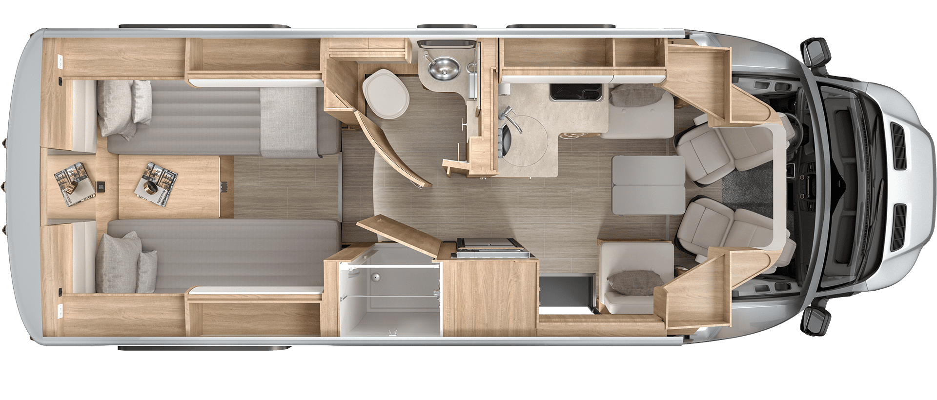 Wonder Rear Twin Bed Floorplan