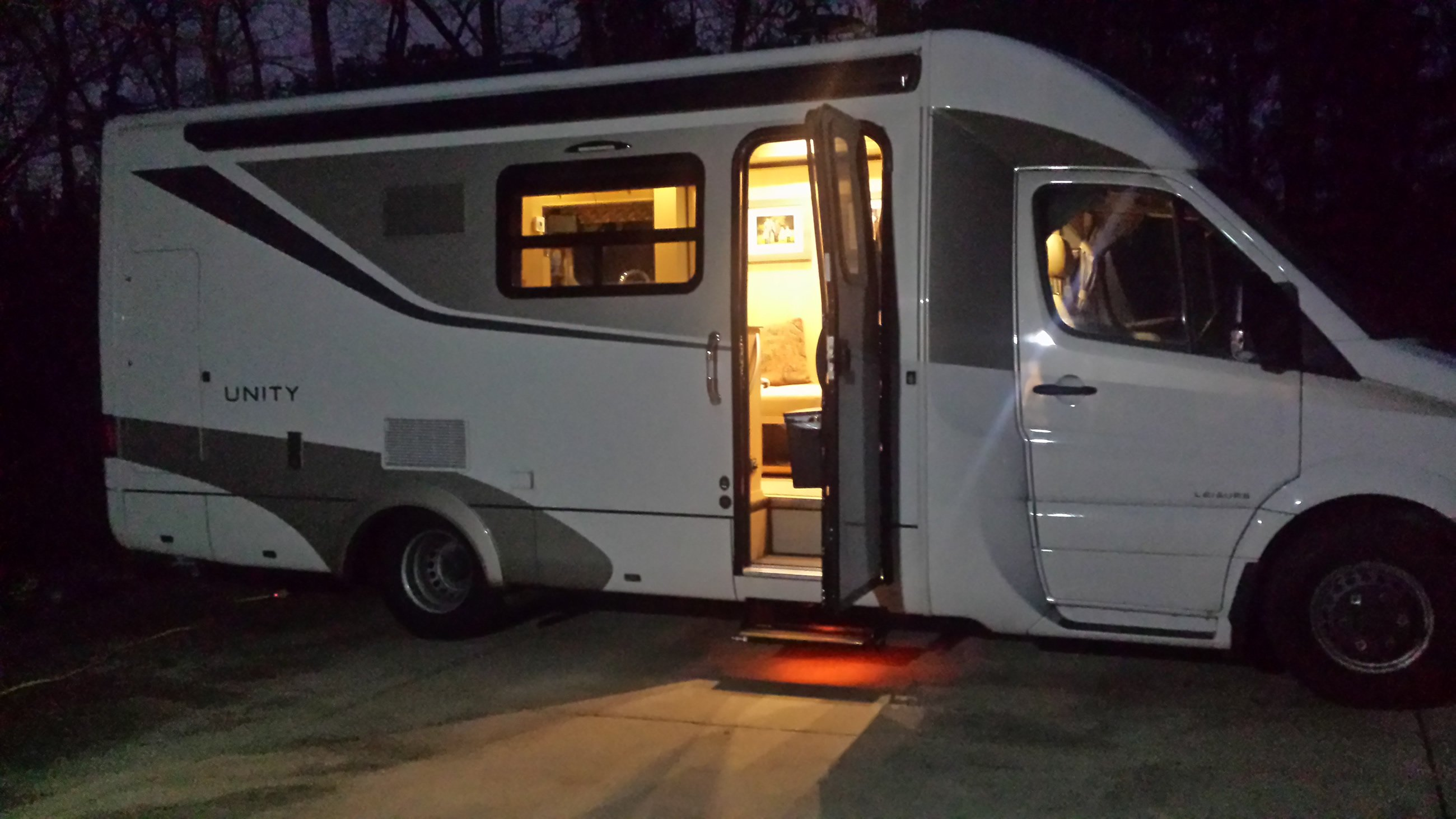 RV lit up at night