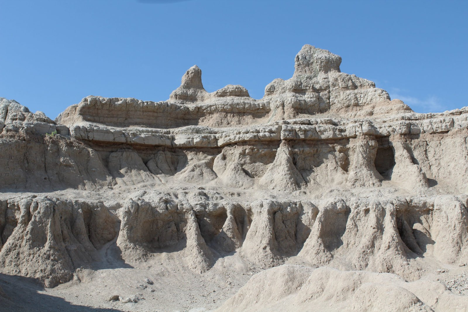 Eroded tower of sandstone in Badlands National Park