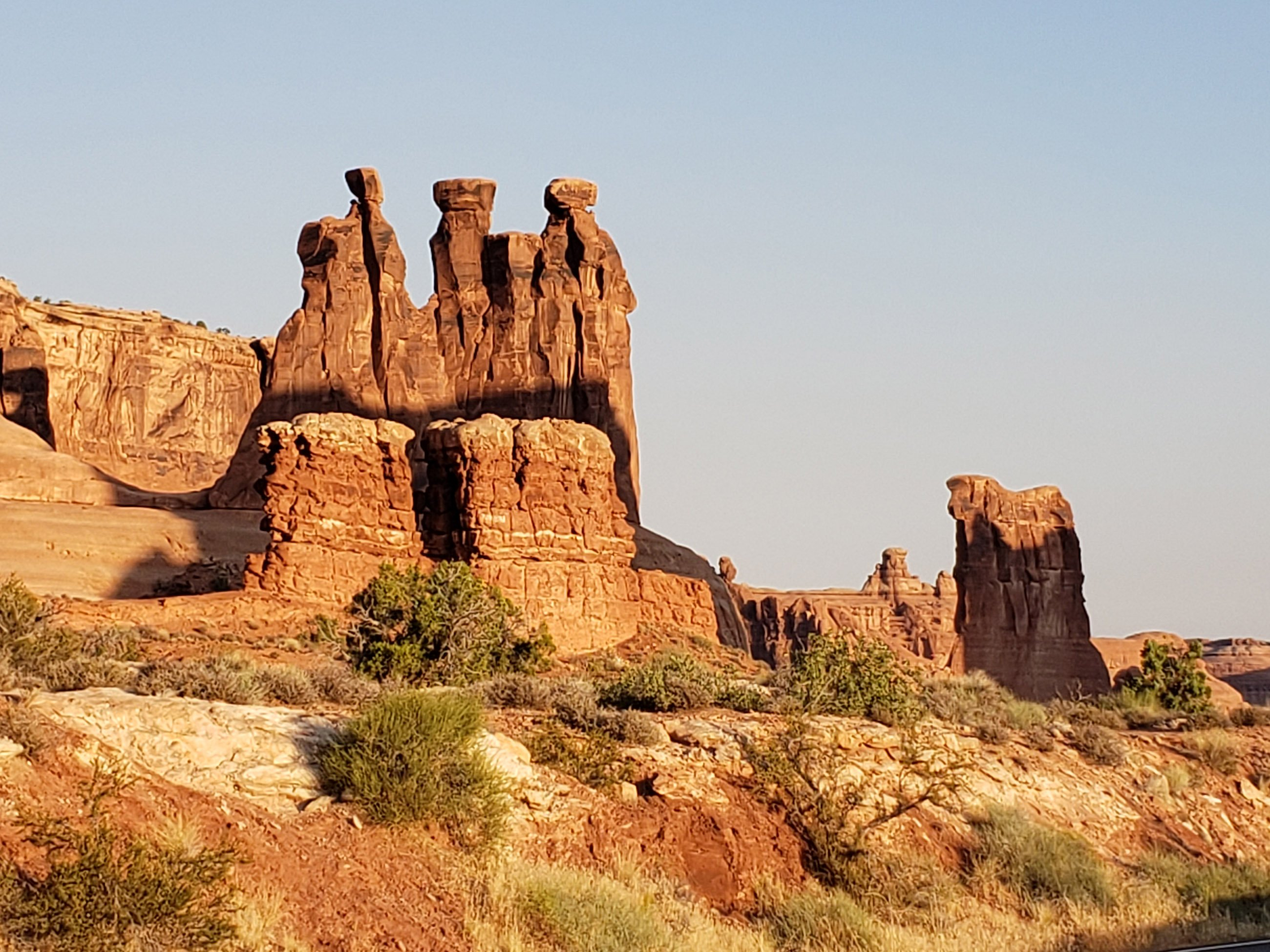 Red rock formations in Arches National Park