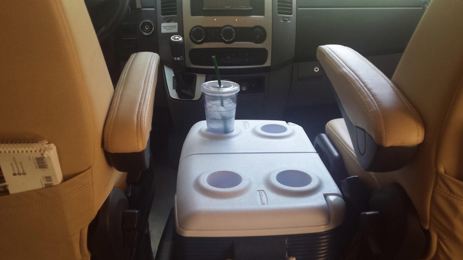 cooler between RV front seats