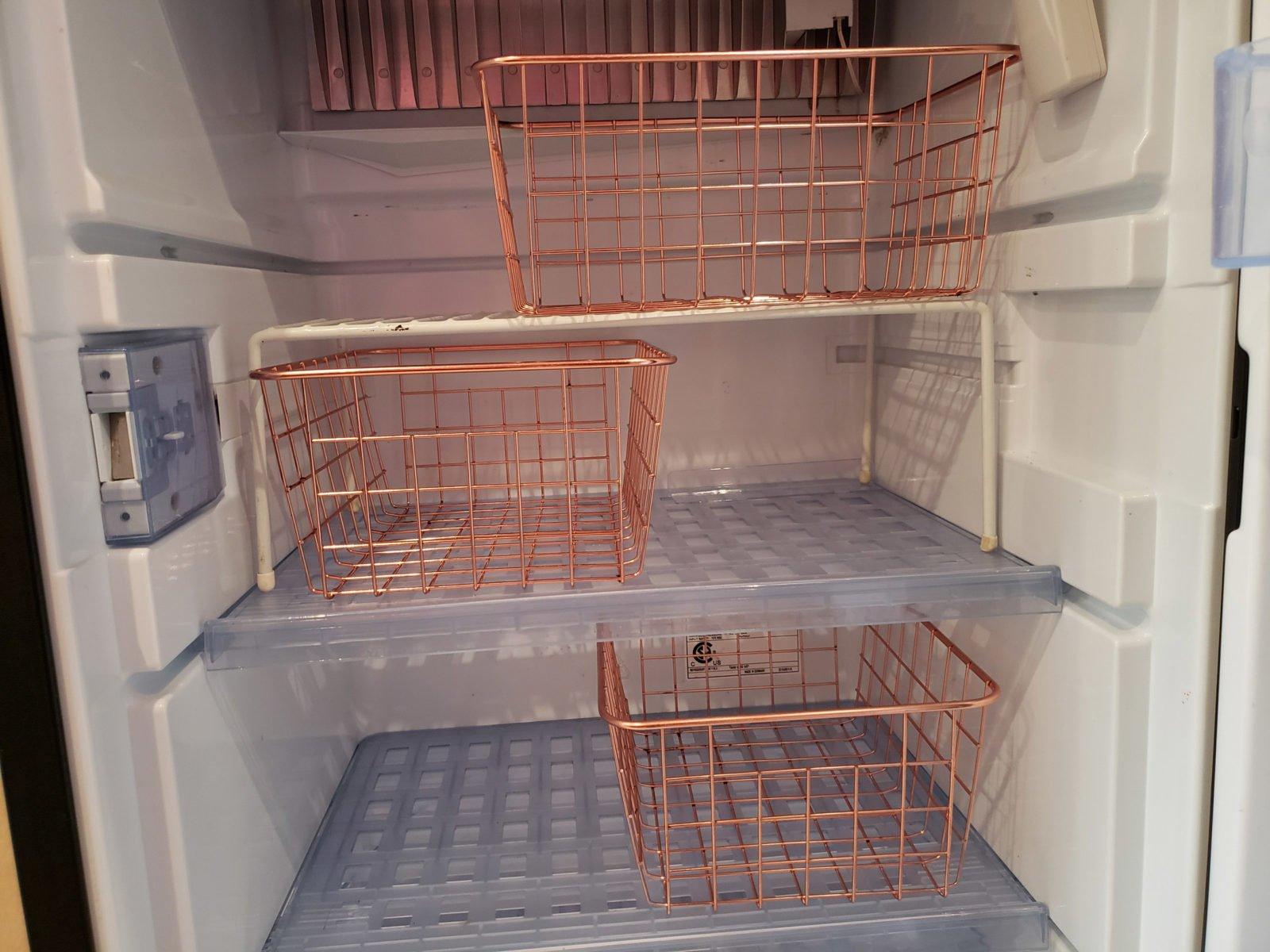 wire baskets in RV fridge