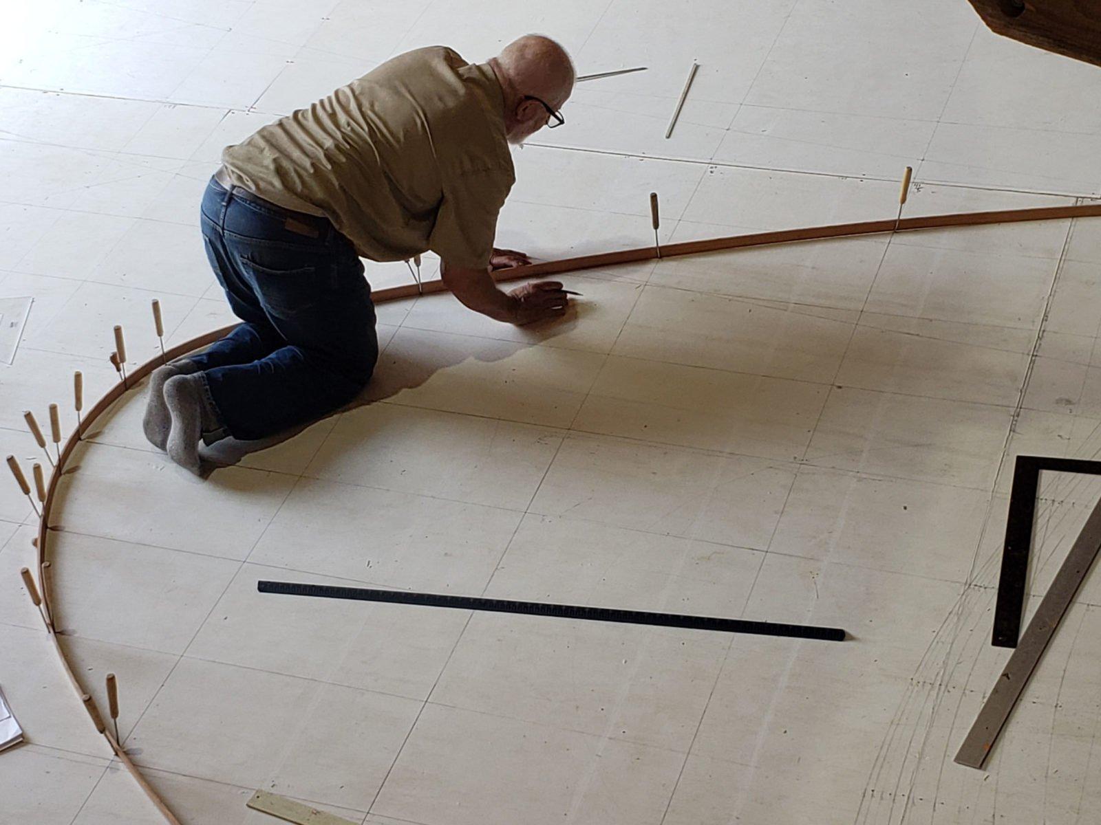 shipwright layingout the deck plan