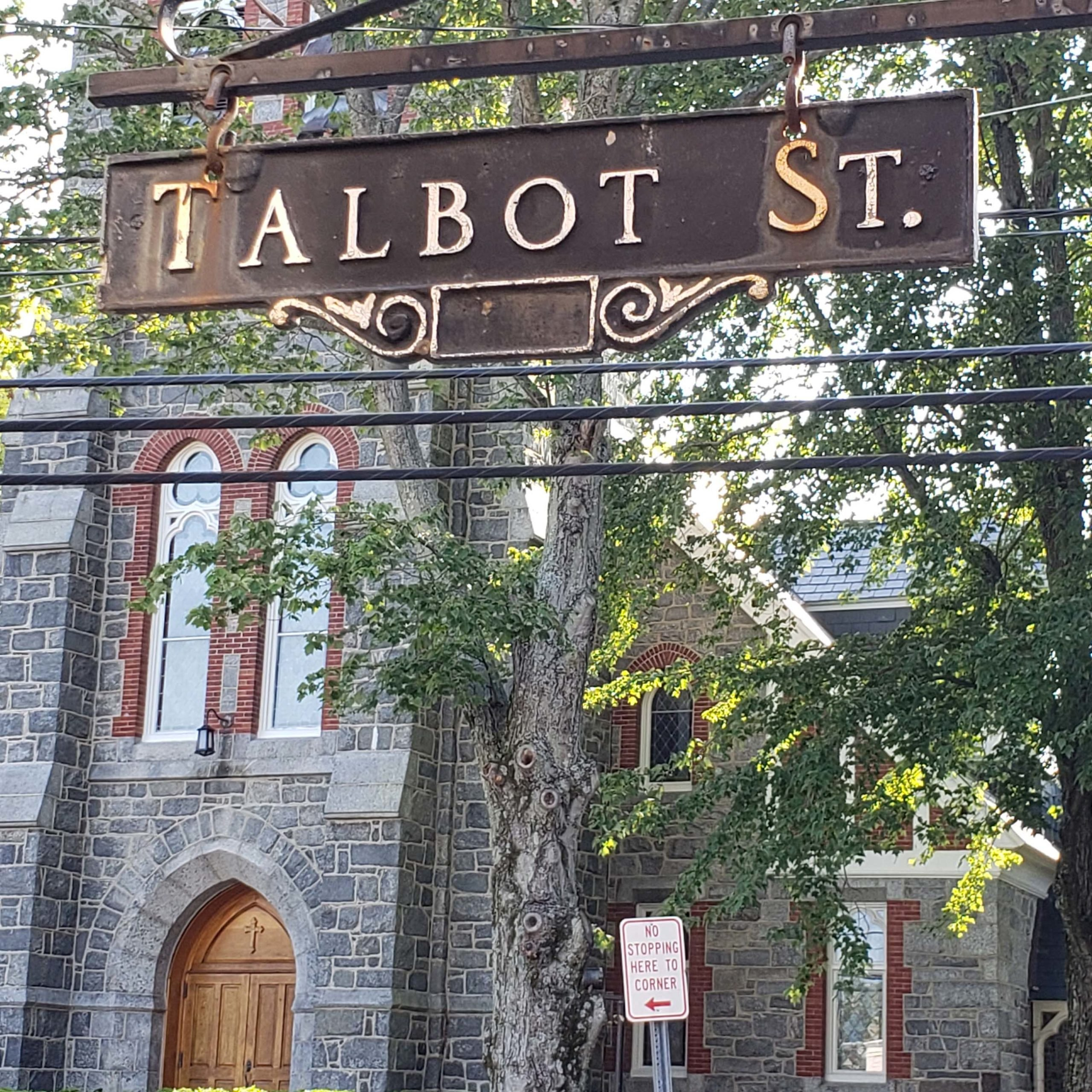 Talbot Street sign and church