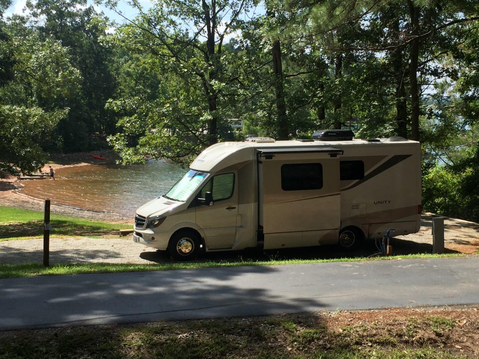 RV parked near lake