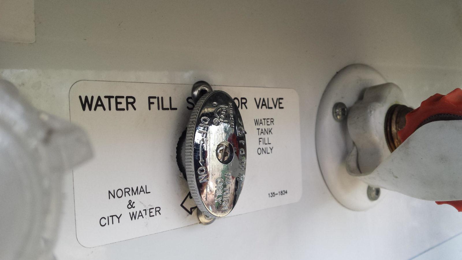 RV water tank fill switch