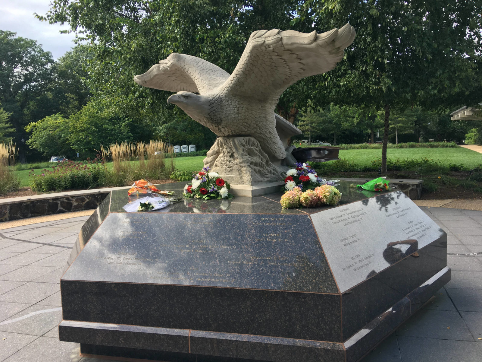 Eagle statue memorial to victims of 911 in Atlantic Highlands New Jersey